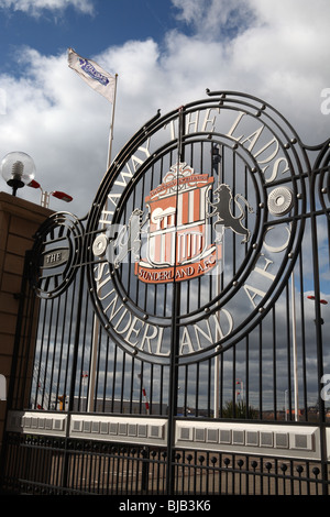The entrance gate to the Stadium of Light, the home of Sunderland football club, England, UK - Stock Photo