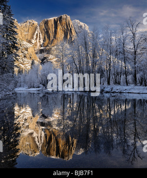 Snow covered trees and Yosemite Point and the Upper Fall reflected in the Merced River in winter Yosemite National - Stock Photo