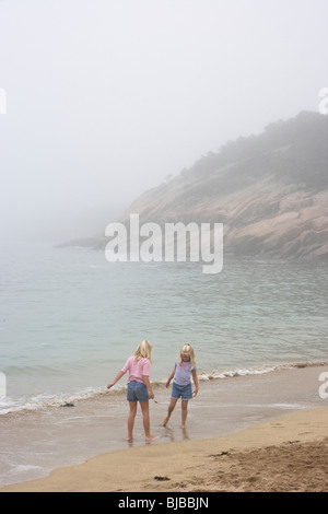 Tourists on a beach in the Arcadia National Park on Mount Desert Island, Bar Harbor, USA - Stock Photo