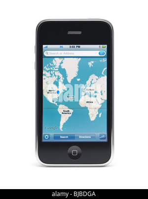 Apple iPhone 3Gs 3G smartphone displaying Google maps on the screen isolated with clipping path on white background - Stock Photo
