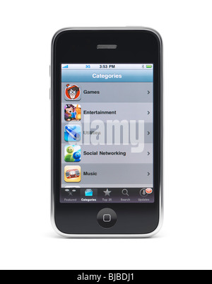 Apple iPhone 3Gs 3G smartphone displaying application menu on the screen isolated with clipping path on white background - Stock Photo