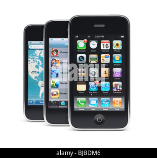 Three Apple iPhone 3Gs 3G smartphones displaying different app menus on their screens isolated on white background - Stock Photo