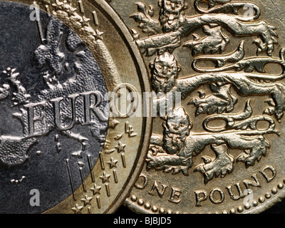 Euro and Pound Currencies of Britain and the European Union - Stock Photo