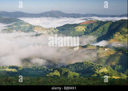 Early morning from Madariko Gaina, a mountain in the western Spanish Pyrenees near Etxalar, Navarre, northern Spain - Stock Photo