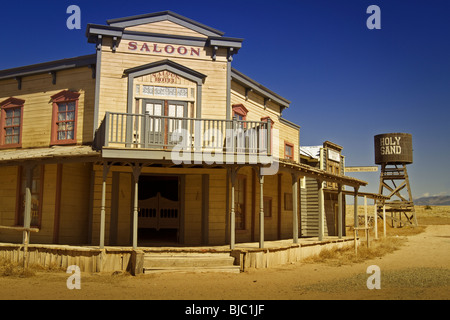 Saloon in western town, which is a permanent and closed movie/TV set outside Santa Fe, New Mexico. Horizontal orientation - Stock Photo