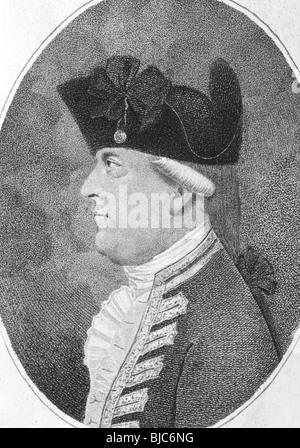 Alan Gardner, 1st Baron Gardner (1742-1809) on engraving from the 1800s. British Royal Navy officer and peer of - Stock Photo