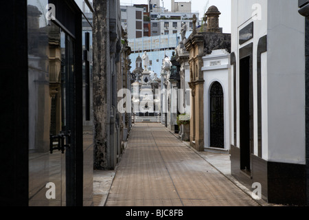 row of older mausoleums on a street in recoleta cemetery capital federal buenos aires republic of argentina south - Stock Photo