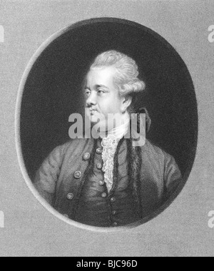 Edward Gibbon (1737-1794) on engraving from the 1800s. English historian and Member of Parliament. - Stock Photo