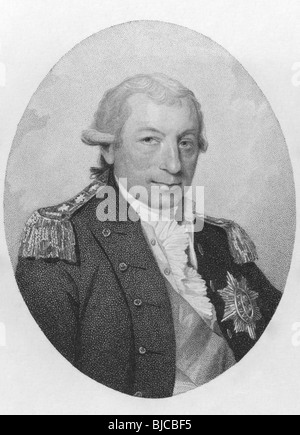 John Jervis, 1st Earl of St Vincent (1735-1823) on engraving from the 1800s. Admiral in the Royal Navy. - Stock Photo