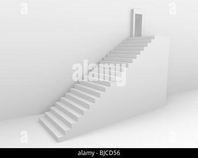 Monochromic 3d rendered image of stair to opened door. - Stock Photo