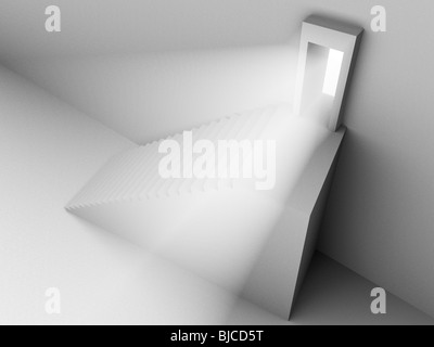 Monochromic 3d rendered image of stair to opened door with light from it. - Stock Photo