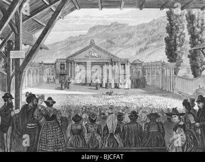 19th Century Theatre of the Oberammergau Passion Play on engraving from the 1800s. Published by The Graphic in 1870. - Stock Photo