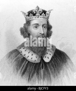 King Alfred the Great (849-899) on engraving from the 1800s. King of the Anglo-Saxon kingdom of Wessex from 871 - Stock Photo