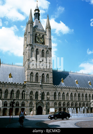Lakenhalle - (Cloth Hall), a medieval market and warehouse in the Flemish city of Ypres - Stock Photo