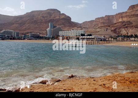 Hotels on the in Dead Sea coastline.Israel - Stock Photo