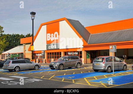 B&Q extra warehouse store and disabled free car parking facilities - Stock Photo