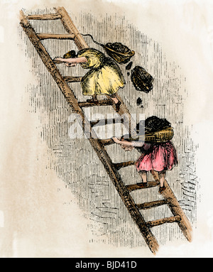 Women coal-bearers in the East Scotland mines, 1850s. Hand-colored woodcut - Stock Photo