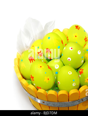 Easter eggs with feathers isolated on white background - Stock Photo