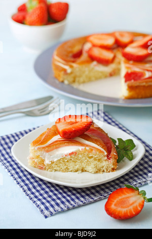 Strawberries and cream tart. Recipe available. - Stock Photo