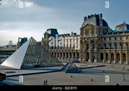 Paris, France - Outside View of Courtyard, square, with Glass Pyramid Designed by I.M. Pei, Architect at the 'Louvre - Stock Photo