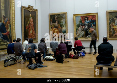 Paris, France, Interior French Paintings Gallery, 'Louvre Museum', Group Teenagers Studying Art with Teacher. - Stock Photo