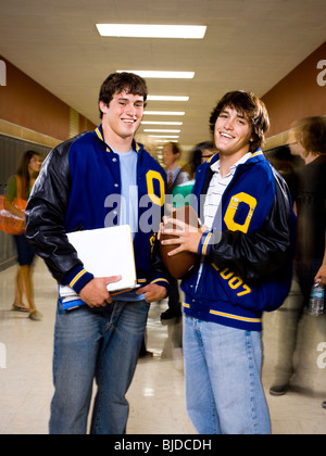 Two male High School students. - Stock Photo