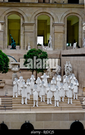 Paris, France - Overview, Inside Sculpture Garden at Louvre Museum, with Contemporary Arts Exhibit - Stock Photo