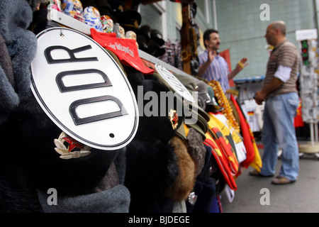 Stall selling souvenirs at Checkpoint Charlie, Berlin, Germany - Stock Photo