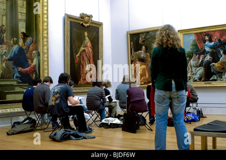 Paris, France, Interior French Paintings Gallery, Louvre Museum, French Teenagers Studying Art - Stock Photo