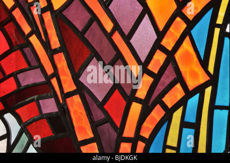Stained glass window - detail - church - Stock Photo
