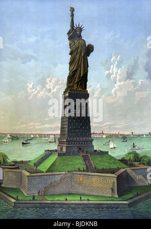 Vintage lithograph colour print circa 1883 of the Statue of Liberty - officially entitled 'Liberty Enlightening - Stock Photo