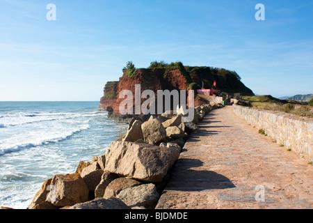 Langstone Rock, Red Rock Beach, Dawlish England UK - Stock Photo
