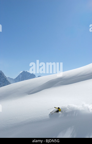 Skiing in fresh powder snow, Chamonix, France - Stock Photo
