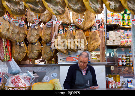 'Mercado Central (central market) in Valencia, Spain, one of the largest indoor markets in Europe', stall selling - Stock Photo