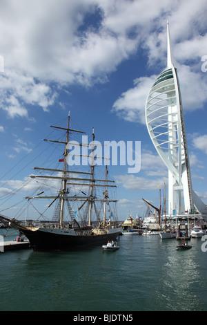 Spinnaker Tower, Gunwharf Quays, Portsmouth, Hampshire, England - Stock Photo