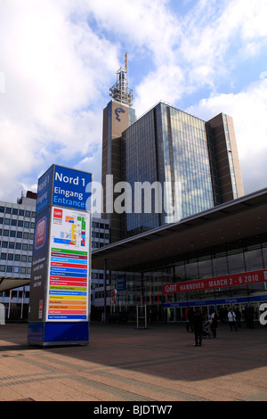 CeBIT 2010, world`s largest computer expo, entrance Nord 1. Federal Republic of Germany, Lower Saxony, Hanover, - Stock Photo