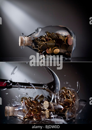 Piggy bank gets smashed - Stock Photo