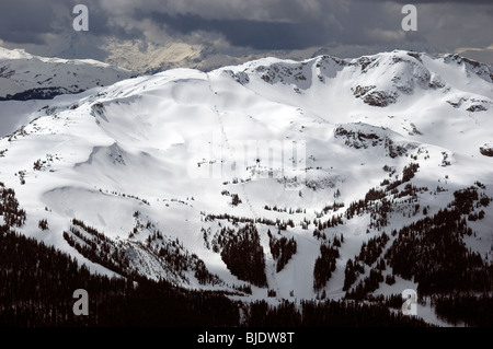 Whistler Mountain seen from Blackcomb, Whistler, BC Canada - Stock Photo