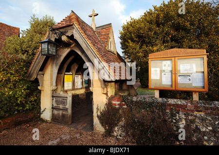 Hambleden Village Church porch and noticeboard Buckinghamshire England UK - Stock Photo