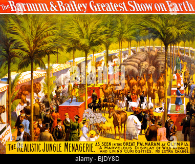 The Barnum & Bailey Greatest Show on Earth  - The realistic jungle menagerie Poster, circa 1897 - Stock Photo