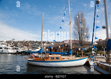 Sailboat Docked at the Center for Wooden Boats, South Lake Union, Seattle, Washington - Sunny Day - Stock Photo