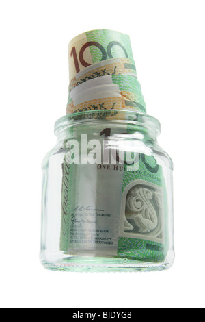 Banknotes in Glass Jar on - Stock Photo