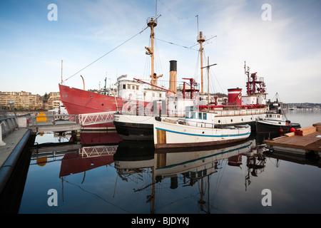 Historic Ships Docked at Heritage Wharf, Lake Union Park, South Lake Union, Seattle, Washington