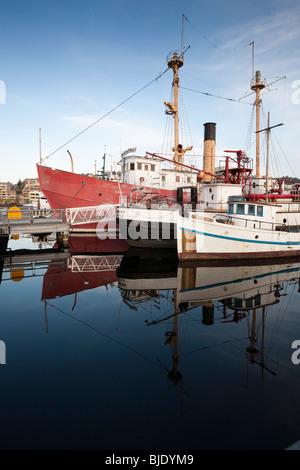 Boats Docked at Heritage Warf, Lake Union Park, South Lake Union, Seattle, Washington