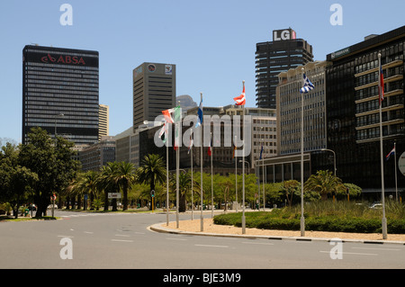 Nedbank and ABSA banks and other office premises along Adderley Street in Cape Town's city centre. South Africa - Stock Photo