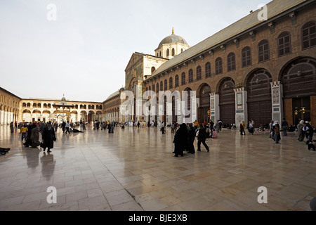 Syria Damascus the courtyard and the dome of the eagles in the Great Umayyad mosque - Stock Photo