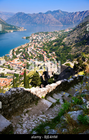 Kotor bay from the fortifications above Kotor town, Montenegro - Stock Photo