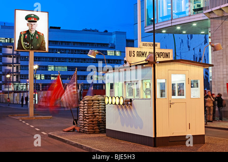 Sentry or watch cabin at Checkpoint Charlie, former border crossing in Berlin, Germany - Stock Photo