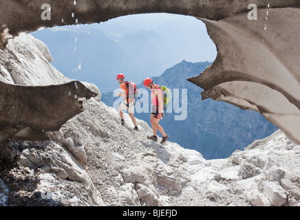 Two mountaineers hiking in the Berchtesgaden Alps, Bavaria, Germany - Stock Photo