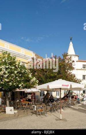 Street cafe, Faro, Algarve, Portugal - Stock Photo